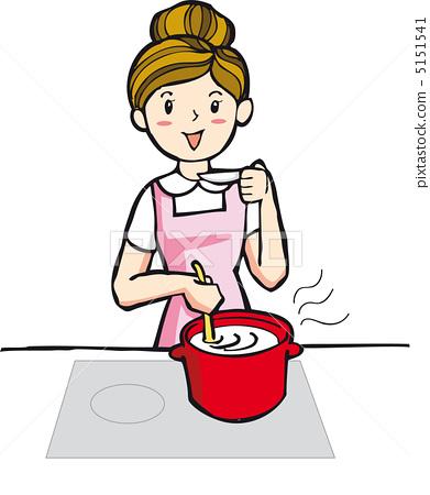 插图素材: 主妇 家庭主妇 烹饪