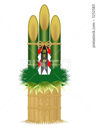 图库插图: 门松 新年的圣诞树装饰 年度盛事
