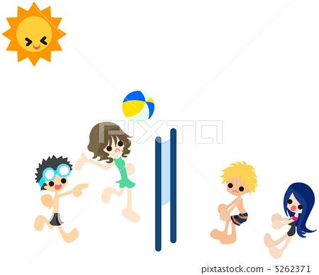 插图素材: 沙滩排球 人 人物