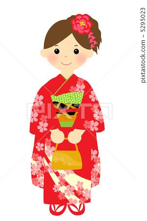 人物 男女 情侣/夫妻 长袖和服 新年参拜 日式服装  *pixta限定素材仅