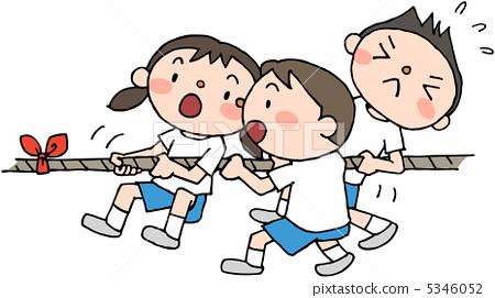 儿童 首页 插图 人物 男性 男孩 拔河 小朋友 儿童  *pixta限定素材仅