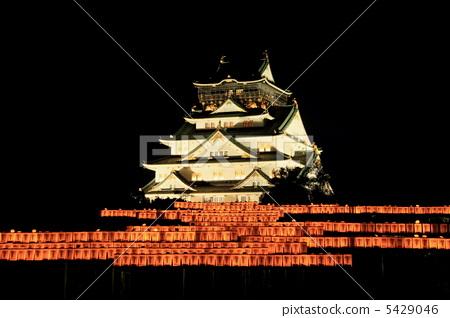 图库照片: 大阪城,城堡塔(城堡之光的风景)