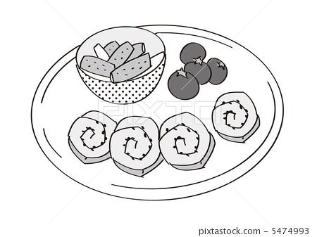 盘子里的鱼简笔画