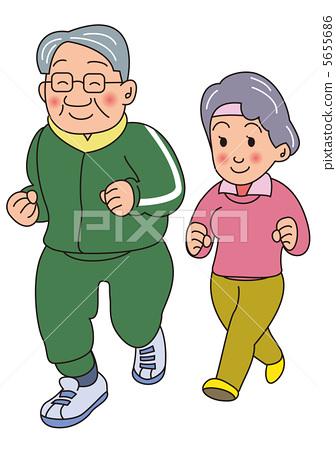图库插图: 慢跑的老夫妻图片