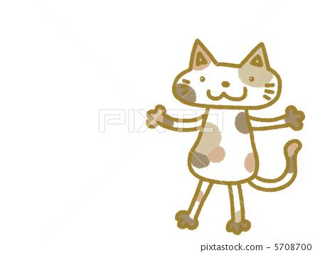 插图素材: 杂色猫 站立 毛孩