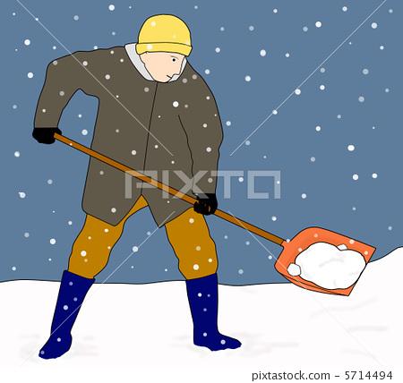 二次元卡通扫雪图片