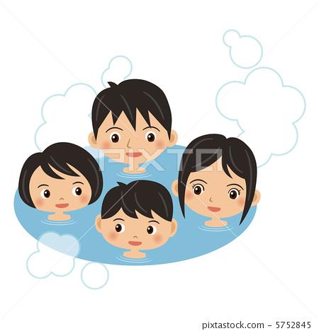 沐浴 四口之家 家庭