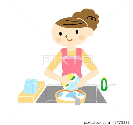 人物 女性 中年妇女 插图 洗碗 家政 家务 首页 插图 人物 女性 中年