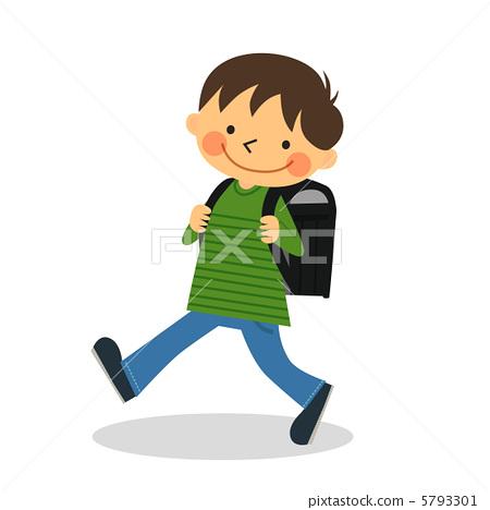 插图素材: 学校通勤 通勤上学 小学生