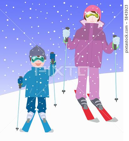 滑雪海報簡筆畫