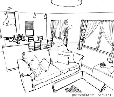 房间俯视图手绘