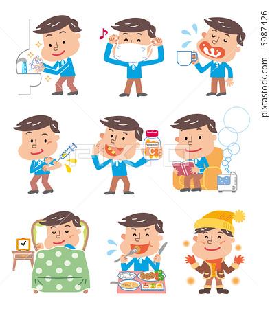 预防感冒-卫生间 插画 中国风