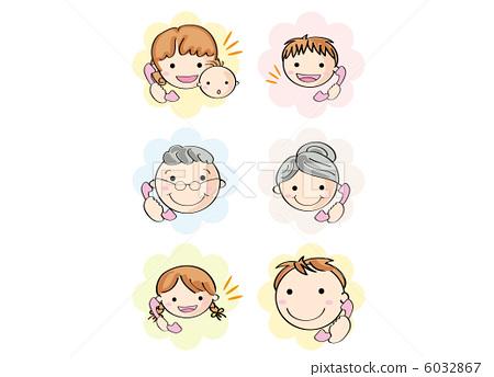 图库插图: 电话 沟通 祖母