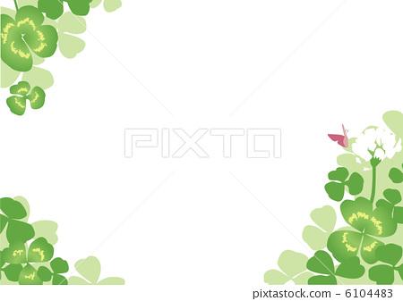 图库插图: 三叶草 白色背景 四叶草
