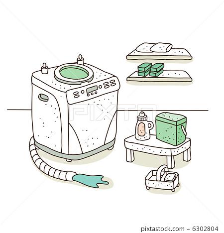 图库插图: 洗衣机 清洁剂 含有肥皂的
