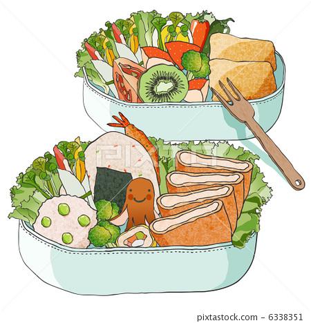 便当盒子简笔画-午餐盒 便当 插图