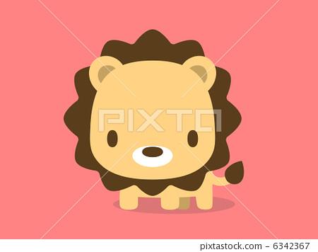 插图素材: 狮子 红色 简约