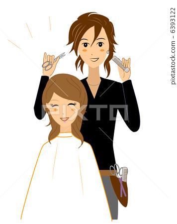 美发师剪发图复古分享展示图片