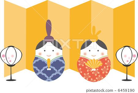雏人形娃娃 女儿节 皇帝和皇后节日娃娃