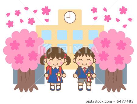 儿童 小学生 进入学校或大学