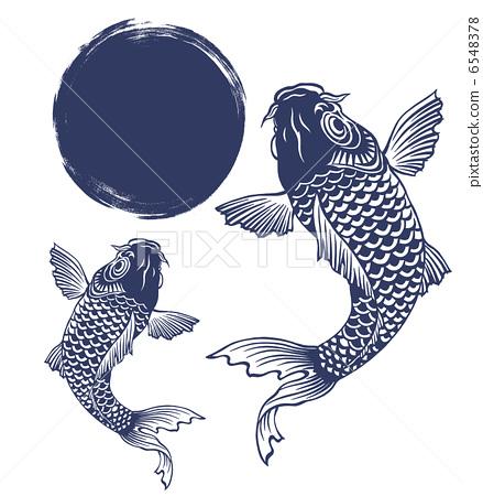 图库插图: 鲤鱼 科伊 鱼爬瀑布玉