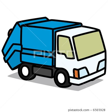 垃圾车简笔画-将居民从楼上抛下的垃圾收集后
