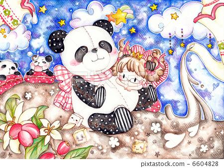 图库插图: 熊猫 彩色铅笔 水彩画