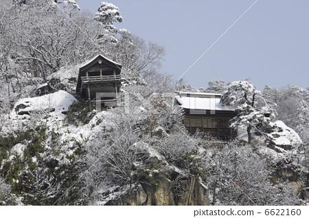 山中寺庙 下雪的 立石寺