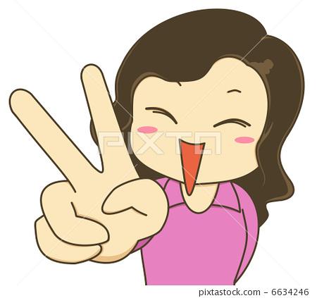 图库插图: 胜利手势 和平标志 女生