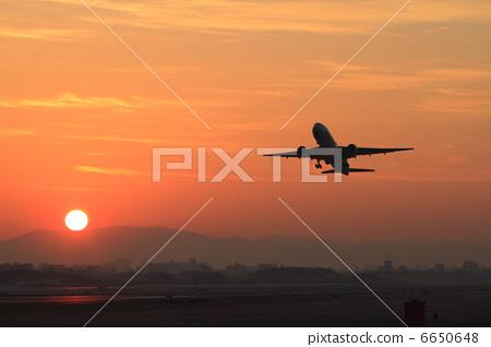 起飞 飞机 日出