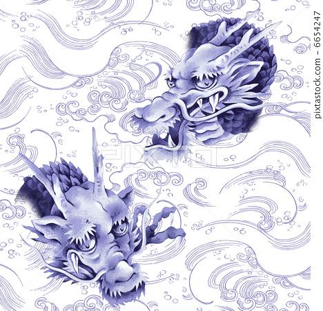 图库插图: 龙 纹身 毛笔绘画