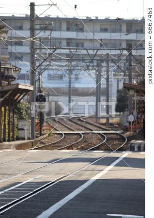 堺gfyl�L�/&:am�xn�)_图库照片: 阪堺电気轨道 有轨电车 轨道