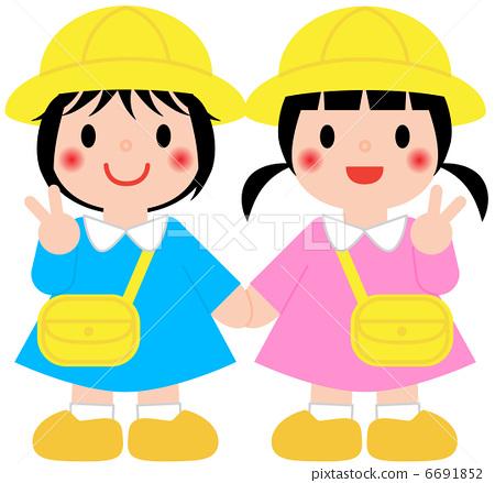 年轻的女孩 幼儿园的孩子 幼儿园儿童