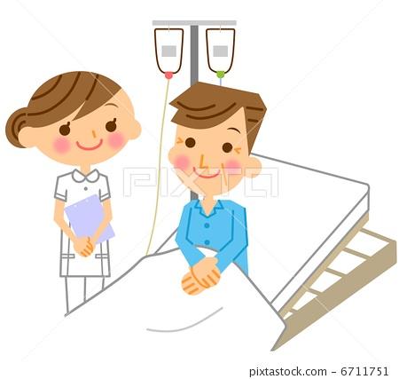 插图素材: 护士和病人