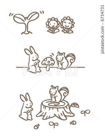 小动物や植物 6734731