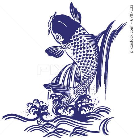 日本手绘鱼插画