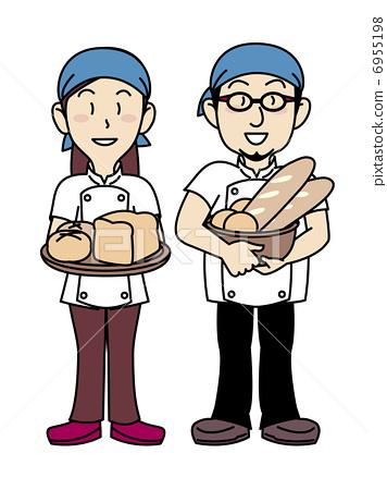 插图素材: 面包房 面包师 )班丹纳花绸