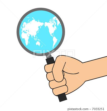 手 放大镜 世界地图