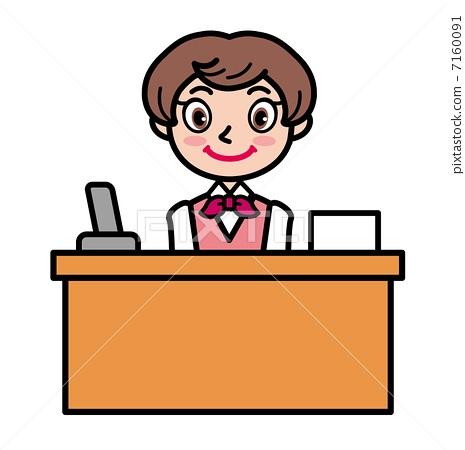 插图素材: 接待员女孩 饭店的)接待处 前台