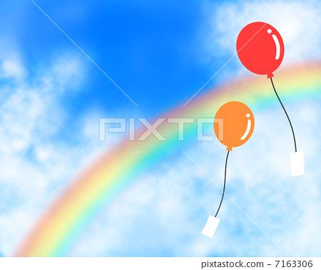 气球 彩虹 云