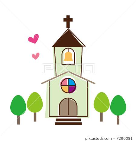 小教堂 十字架 stock 插图