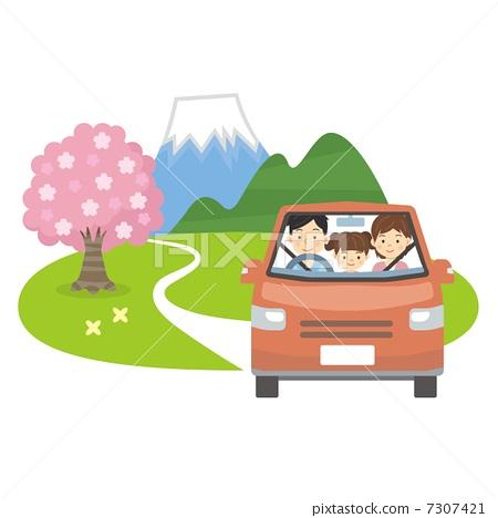 樱花 车辆 樱桃树