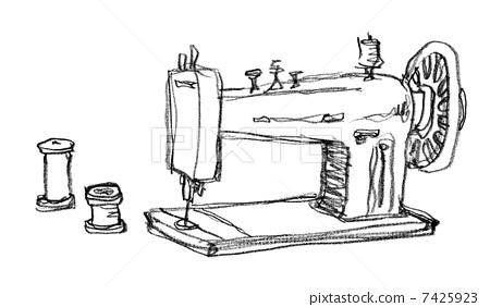 插图素材: 缝纫机和线程