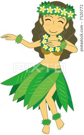 插图素材: 草裙舞 矢量 跳舞