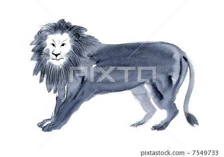 插图素材: 毛笔绘画 狮子 动物