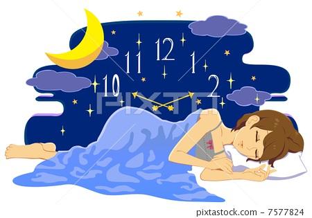 女性睡眠的头像手绘