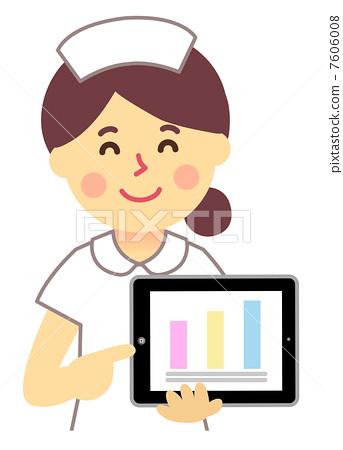 平板电脑 便笺簿 护士