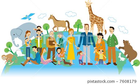 图库插图: 动物 家庭 家族