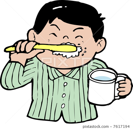 牙粉 防止蛀牙 预防牙齿疾病-图库插图 [7617194]