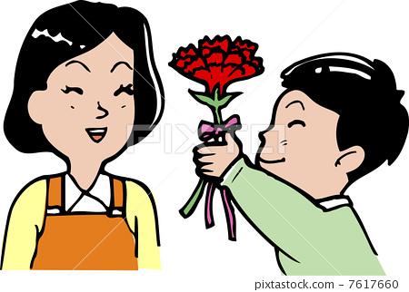 插图素材: 母亲节 插图 康乃馨